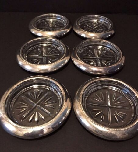 Vintage set of 6 Sterling Silver And Clear Glass Coasters