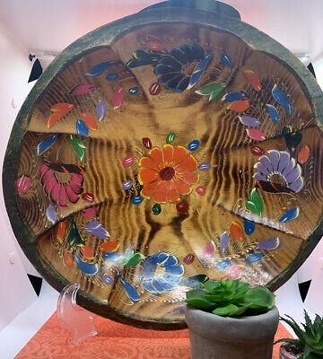 Medium Round Batea-Style Wood Dough Bowl with Bright Flowers.