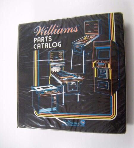 WILLIAMS PINBALL PARTS CATALOG BINDER, BLACK COVER, ORIGINAL OEM