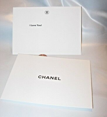 I LOVE YOU! new Authentic CHANEL White gift note Card & Envelope 3 3/4 x 5 1/4