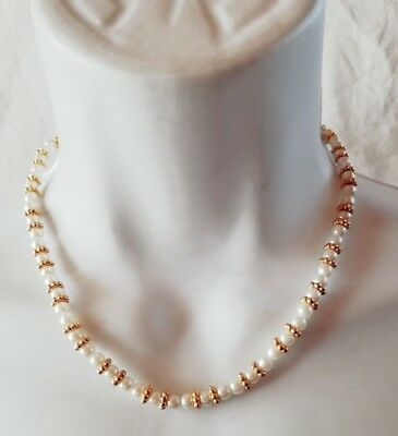 """Afterthoughts Delicate Faux Pearl Gold Ring 16"""" Choker Necklace Dressy Wedding"""