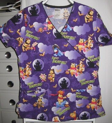 Disney Happy Haunting Halloween Scrub Shirt Tigger Winnie the Pooh Sz. Small S ()