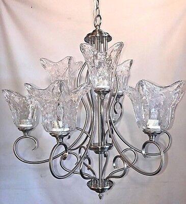 9 light chandelier SN satin nickel with clear hand blown glass*  - Sn Satin Nickel