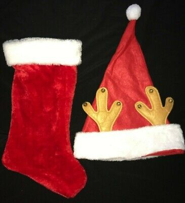 SANTA CHRISTMAS HAT WITH REINDEER ANTLERS RED PLUSH STOCKING one size NICE @@ - Santa Hat With Antlers