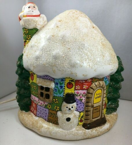 Vintage Ceramic Light-Up Christmas House Patchwork Santa Claus Snowman Holiday