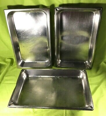 Vollrath Duraware Stainless Steel Full Size Steam Table Pans 2.5 Deep Lot Of 3