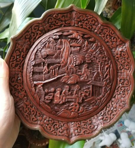 Chinese Carved Lacquer Plate Vintage Antique With Marked Brass Seal