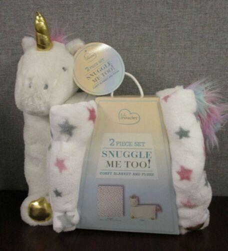 2 Piece Gift Set Snuggle Me Too! Comfy Plush Blanket & Plush Unicorn Pillow -New