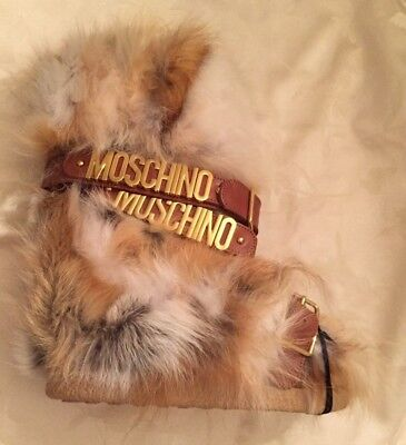 AW15 $1295 Moschino Couture X Jeremy Scott LEATHER & FOX FUR BUCKLED SNOW BOOTS Moschino Leather Flats