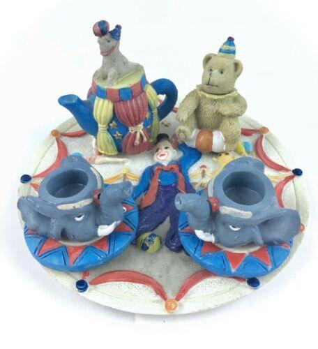 Miniature Mini Tea Set Theme Circus Clown & Animals Design 9 Piece