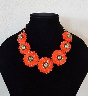 Authentic J.CREW Statement NECKLACE and BRACELET NEON ORANGE FLOWER Crystal ](Neon Bracelets And Necklaces)