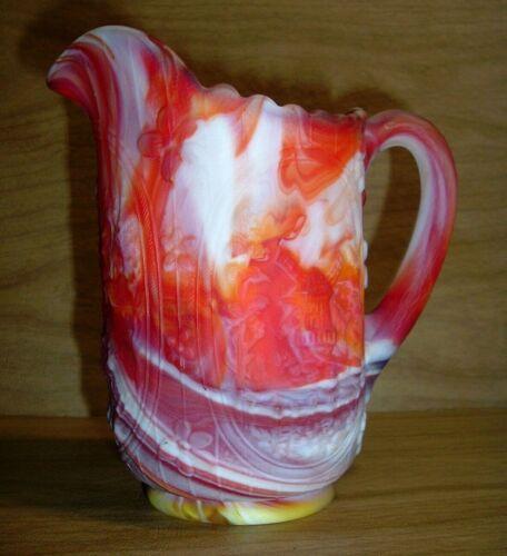 BEAUTIFUL Vintage Imperial Orange Red & Milk White Swirl Slag Glass Pitcher