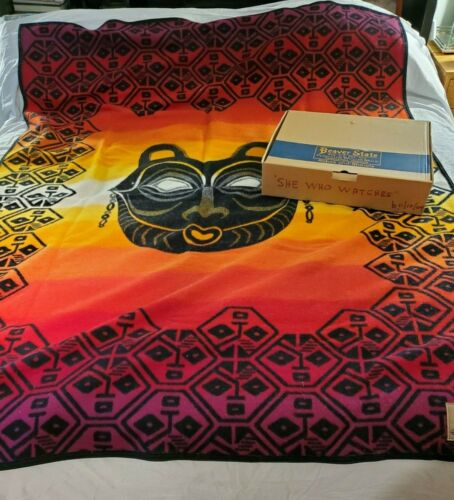 """NWT Boxed Vintage Pendleton She Who Watches By Lillian Pitt 64""""x80"""" Wool Blanket"""