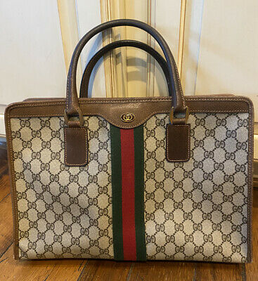 Authentic GUCCI ACCESSORY COLLECTION VINTAGE GG BAG Zippered Tote Handbag
