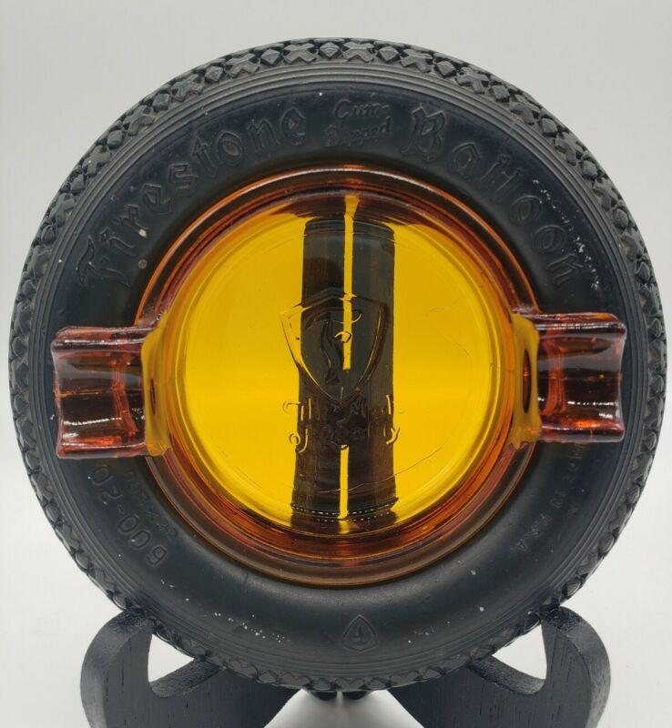 Rare Firestone Gum Dipped Balloon Tire Ashtray Amber Glass Insert