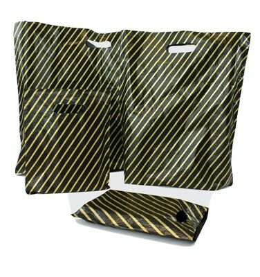 "7.5x10"" Black/Gold Striped Boutique HDPE Punch Handle Fashion Carrier Bags X 500"