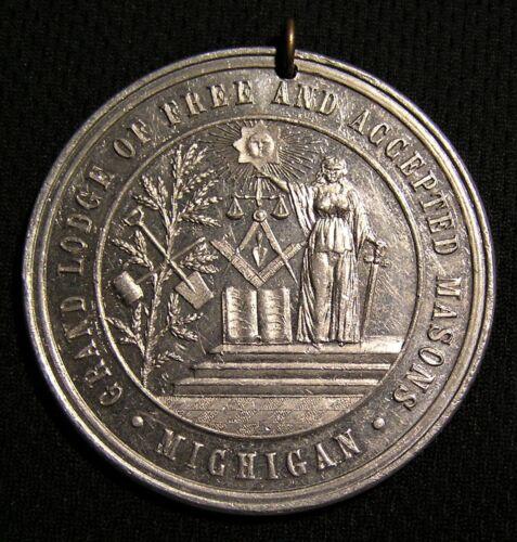 "1895 1 7/8"" MICHIGAN F&AM FREE AND ACCEPTED MASONS ALUMINUM MEDAL Masonic Mason"