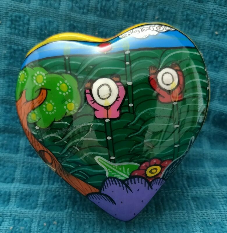 Heart Shaped With Colorful Flowers Glazed Clay Trinket Box Made In Mexico