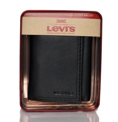 Levis Men's Leather Interior Zipper Slim Trifold Wallet BLACK with Gift Box