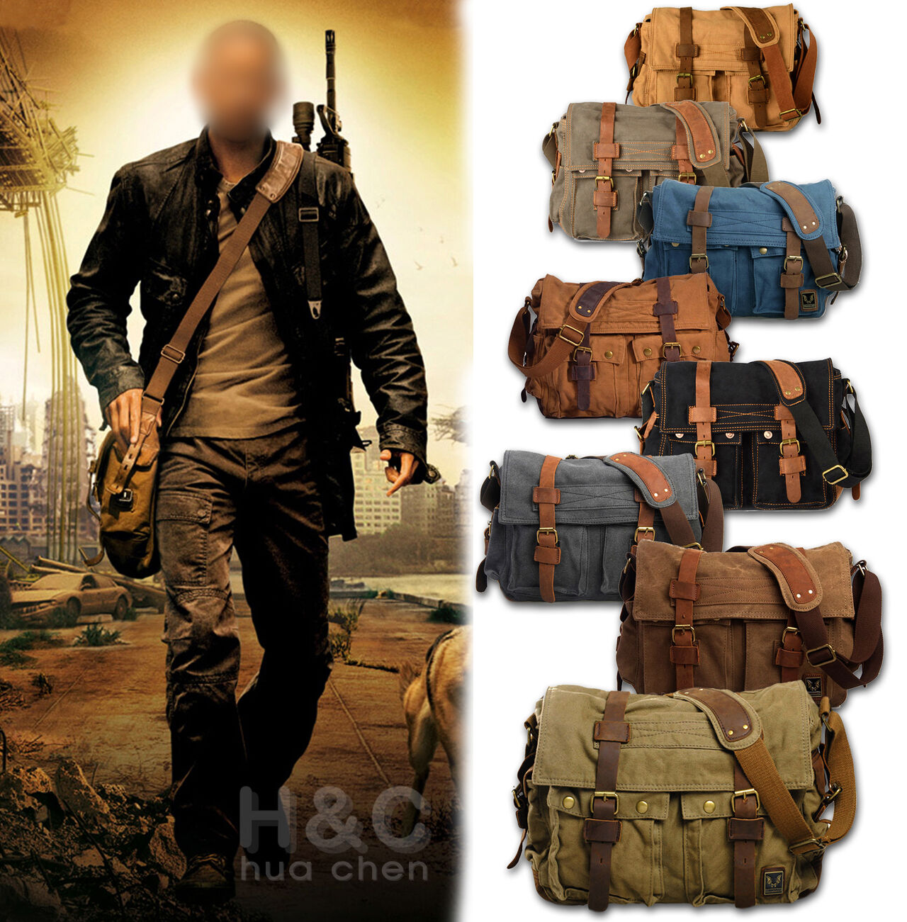 "как выглядит Мужская кожаная сумка Mens Military Canvas Leather Satchel School 14"" Laptop Shoulder Messenger Bag фото"