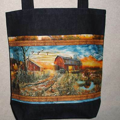 New Handmade Large Country Fall Barn Turkey Hunt Tote Bag