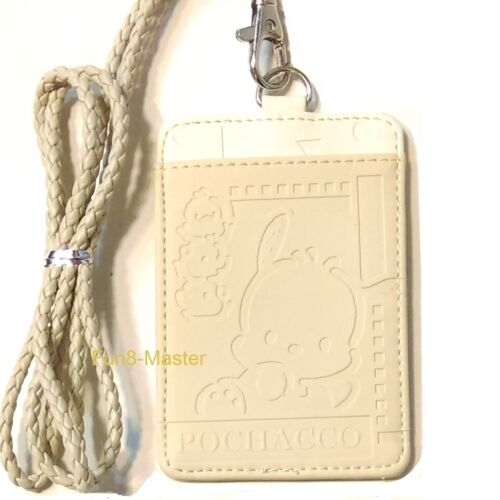 Pochacco Embossed Leather 2-Slots Badge ID Card Holder Pass Case Tag Bag Lanyard