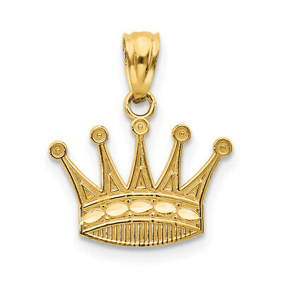 14K Yellow Gold Kings Crown Pendant 15x15mm  - Gold Kings Crown