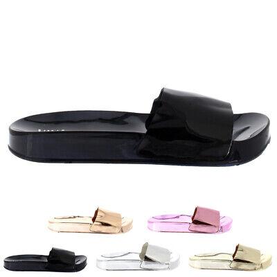 Womens Metallic Fashion Mirror Flat Slip On Summer Chic Sliders Shoes UK 3-8