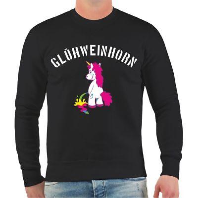 Weihnachten Erwachsene Sweatshirt (Pullover Weihnachtsmarkt Glühweinhorn Weihnachten Geschenk Einhorn Sweatshirt)