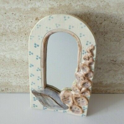 Vintage Small Arch Wall Mirror Pottery Foxglove Floral Handmade Studio Signed PW