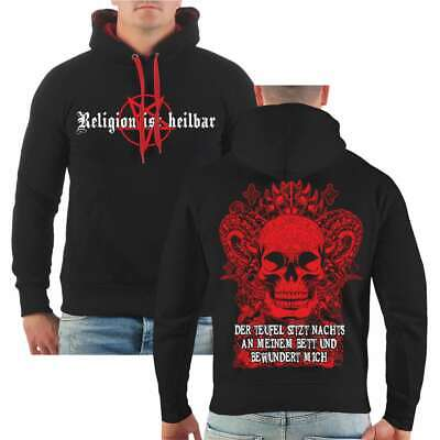 Teufel Hoodie (Kapuzenpullover Der Teufel sitzt nachts an meinem Bett Hoodie 666 Hölle Gothik)
