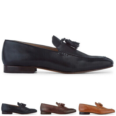 Mens H By Hudson Bolton Calf Leather Work Office Smart Tassel Loafers UK 7-12
