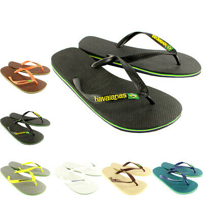 Mens Havaianas Brasil Logo Summer Flip Flops Sandal Slip On Flats UK Sizes 6-12