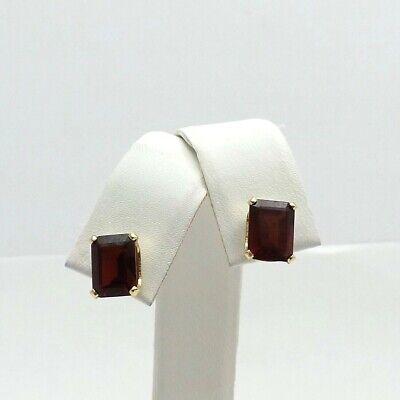 New 14K Gold 4.6ctw Emerald Cut Garnet January Birthstone Stud Earrings