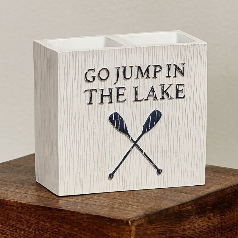 Lakewords 2-Slotted Toothbrush Holder - Cabin Theme Bathroom Accent