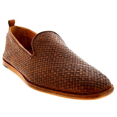 Mens H By Hudson Ipanema Leather Slip On Smart Weave Tan Casual Shoes UK 6-12