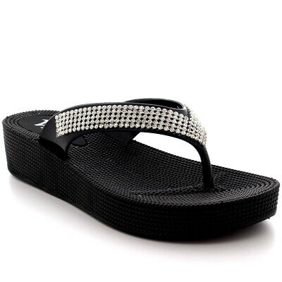 Womens Beach Holiday Thong Sandals Jelly Wedge Heel Diamante Flip Flops UK 3-9