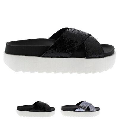 Womens Platform Glitter Strap Slip On Summer Fashion Chic Sandals Shoes UK 3-8