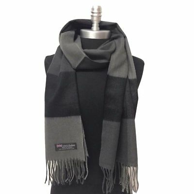 NEW Men's 100% CASHMERE SCARF Scotland Soft Wool Wrap Check Plaid Black gray