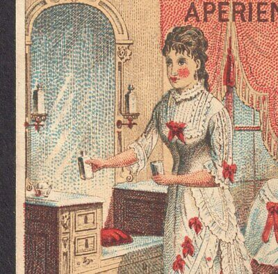 Victorian Dresser & Mirror 1800's Headache Cure Ad Tarrants Seltzer Trade Card