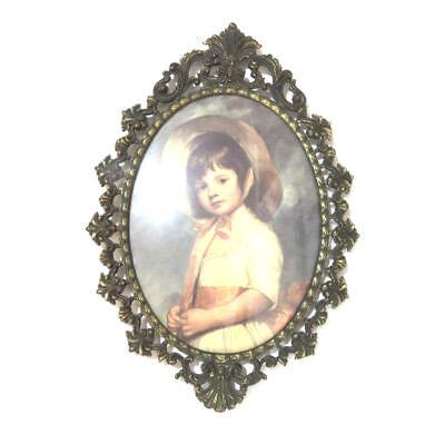 "Antique Victorian Bubble Convex Glass Brass Frame Large 9x13.5"""