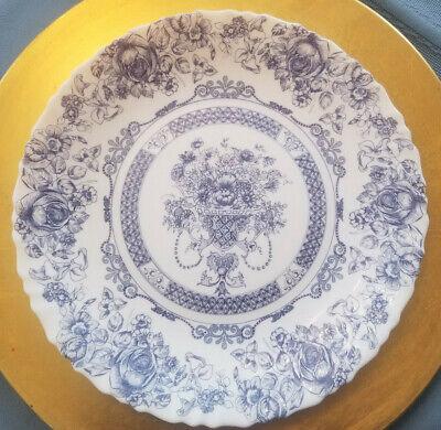 """Vintage *Lot of 4* Arcopal France Honorine Dinner Plates 10 3/4"""" Blue & White"""