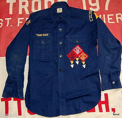 BOY SCOUT PRE 1945 CUB SCOUT SHIRT WITH METAL BSA BUTTONS AND FELT BADGES
