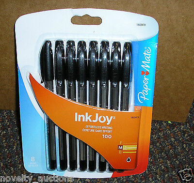 S33 Ink Joy 100 Paper Mate 8 Pens 1.0 Mm Black Ink Medium Point