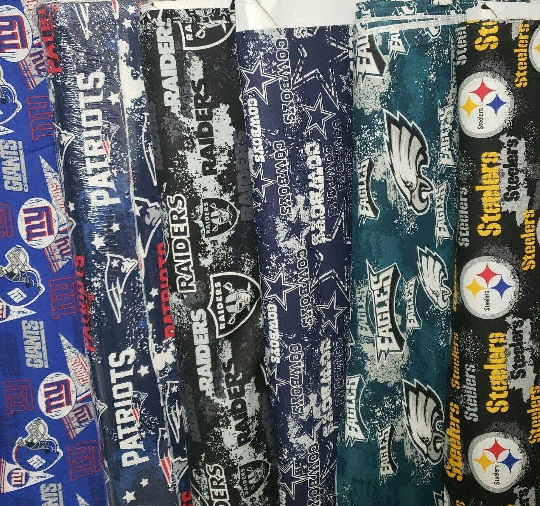 "NFL Cotton Fabric By The  Half Yard  - PICK TEAM -  18""L x 5"