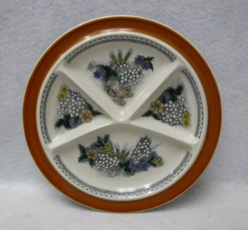 GOEBEL china BURGUND pattern Divided Fondue Plate - 9-1/2""