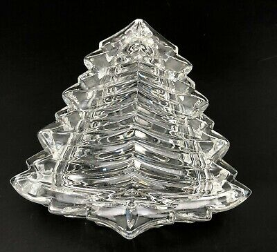Glass Figural Christmas Tree Covered Candy Dish 4.5