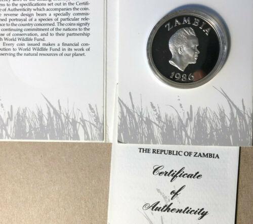 1986 Zambia 10 Kwacha World Wildlife Fund Silver Proof Coin Sealed w/ COA
