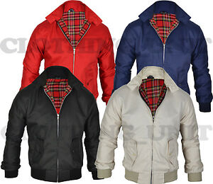 Mens-Smart-Classic-Harrington-Jacket-Coat-Black-Burgundy-Stone-Green-S-M-L-XL