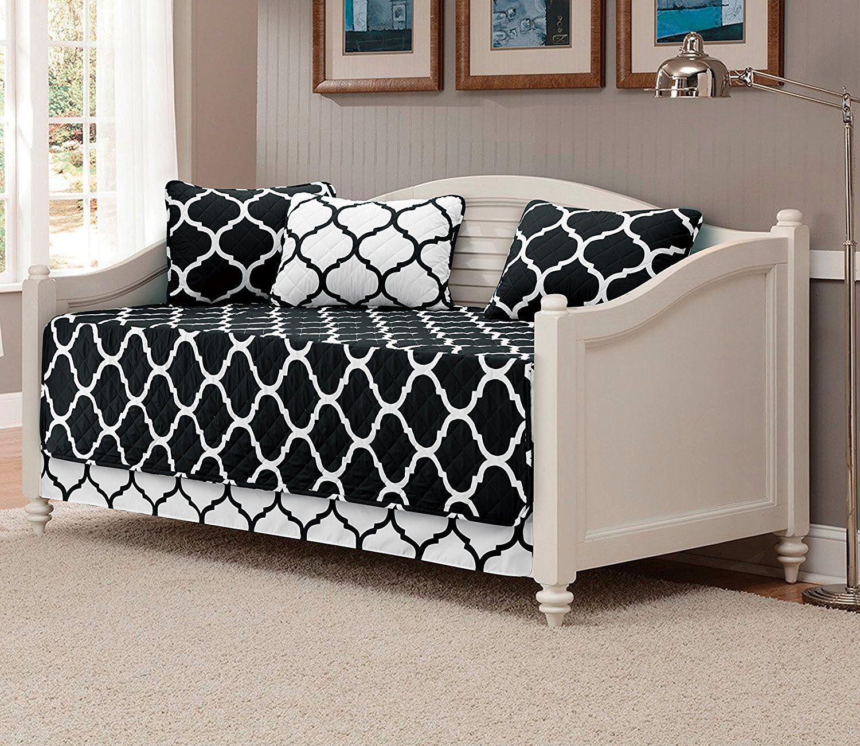 Fancy Linen 5pc Modern Bedspread DayBed Black White Geometri